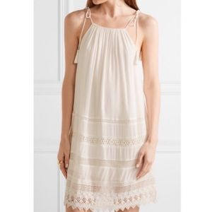 Alice + Olivia Danna Tie-Strap Ivory Crochet Dress